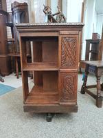 Carved Oak Revolving Bookcase (2 of 8)