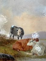 Antique Victorian river landscape oil painting study of cows 1 of 2 (6 of 10)