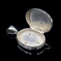Antique Victorian Sterling Silver Oval Buckle Locket Pendant (4 of 10)