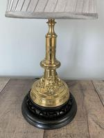Victorian Brass Table Lamp on Black Wooden Base, Rewired & PAT Tested (8 of 9)