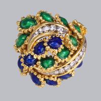 Vintage Diamond and Blue & Green Enamel Ring 18ct Gold Bombé Ring (2 of 21)