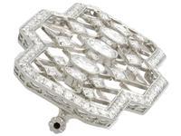 3.78ct Diamond & Platinum Brooch - Art Deco - Antique c.1920 (4 of 9)