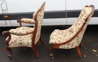 1859 Quality Beautiful Rosewood Mummy and Daddy Chair in Floral Upholstery (2 of 5)