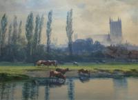 St Johns College, Cambridge 'John Henry Leonard' (1834-1904) Landscape Painting (4 of 12)