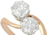 1.57ct Diamond & 18ct Rose Gold Twist Ring - Antique c.1910 (4 of 9)