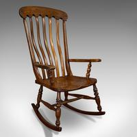 Antique Farmhouse Rocking Chair, English, Elm, Beech, Seat, Victorian c.1900
