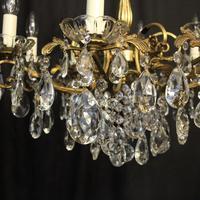 Italian Gilded Brass 8 Light Antique Chandelier (6 of 8)