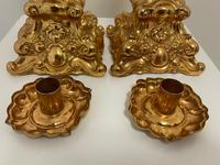 Pair of Decorative French 19th Century Gilded Hallmarked Cartouche Scroll Candlesticks (34 of 40)