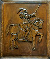 Large 17th Century Style Carved Oak Hanging Panel Of A Knight On Horseback