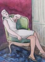 Pair of Watercolours Girl in the Chair Listed French Artist Janine Marca 1960s (9 of 10)