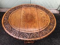 Antique Carved Oak Drop Leaf Table (4 of 7)