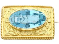 10.46ct Aquamarine & 18ct Yellow Gold Brooch - Antique c.1900 (9 of 9)