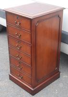 1960s Mahogany Tall Filing Cabinet with Red Leather Top (3 of 4)