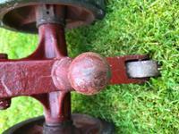 English Vintage Railway Willmot Trolley Oak Iron Plank Top Coffee Wheel Table (4 of 25)