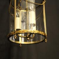 French Small Convex Gilded Triple Light Antique Lantern (9 of 10)
