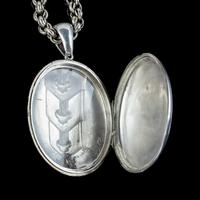 Antique Victorian Silver Turquoise Locket Necklace c.1880 (5 of 8)