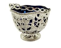 Antique Sterling Silver Basket with Scenes &  Blue Glass Liner 1901 (7 of 11)