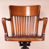 Good Quality Oak Revolving Office Desk Chair (5 of 14)