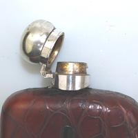 Good & Substantial Silver Plate & Crocodile Hip Spirit Flask c.1900 (4 of 4)