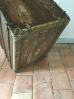 """19th Century French """"Louvre Paris"""" Vellum, Leather & Rattan Tarvelling Trunk with Tray 'like Louis Vuitton' (8 of 10)"""