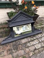 Antique Victorian Cast Iron Overmantle Mirror & Shelf