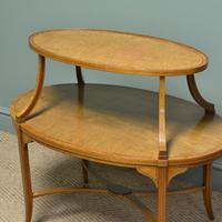 Quality Victorian Satinwood Two Tier Lamp Table (4 of 7)