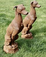 Pair of Large Outdoor Weathered Cast Iron Greyhound Dogs (2 of 9)