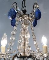 Vintage French Chandelier 4 Arm Crystal Ceiling Light with Sapphire Blue Glass (9 of 13)