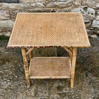 Antique Victorian Bamboo & Rattan Occasional Side Table (5 of 9)