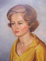 Large Oil on Canvas Girl in the Yellow Dress Artist A Wright 1962 (9 of 10)
