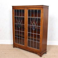 Oak Leaded Stained Glazed Bookcase Arts & Crafts Edwardian (4 of 11)