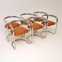 1970's Chrome, Glass & Leather Dining Table & Chairs (4 of 12)