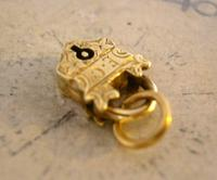 Victorian Pocket Watch Chain Fob 1890s Dainty Antique Gilt Miniature Padlock Fob (5 of 9)