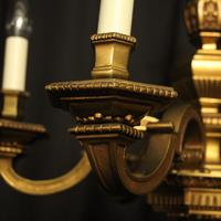 French Gilded Bronze 6 Light Antique Chandelier (9 of 10)
