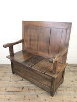 Small Antique Oak & Fruitwood Box Settle (3 of 12)