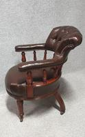 Super Victorian Walnut Leather Desk Chair (2 of 7)