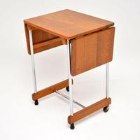 1950's Vintage Oak & Chrome Drop Leaf Side Table (5 of 9)