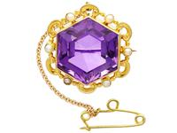 12.50ct Amethyst & Seed Pearl, 15ct Yellow Gold Brooch - Antique c.1890