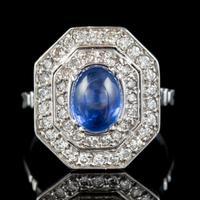 Art Deco Sapphire Diamond Cluster Ring 18ct Gold 1.50ct Sapphire 1.69ct Diamond c.1930 (2 of 7)