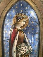 Antique Gothic Framed Enamel of St Elisabetha of Hungary Carrying Roses (5 of 11)