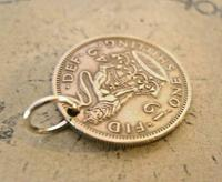 Vintage Pocket Watch Chain Fob 1949 Lucky Silver One Shilling Old 5d Coin Fob (6 of 6)