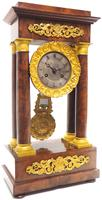 Fine Antique Flame Mahogany Mantel Clock French Striking Portico Mantle Clock (5 of 13)