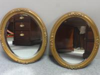 Pair of French Gilt Oval Wall Mirrors c.1890 (6 of 7)