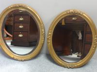 Pair of French Gilt Oval Wall Mirrors c.1890 (3 of 7)