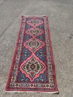 Good Pink and Blue Ground Iranian Carpet Runner