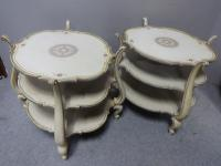Great Pair French Three Tier End Coffee Lamp Tables