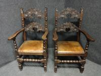 Pair of Oak Carver Hall Chairs c.1900 (6 of 6)