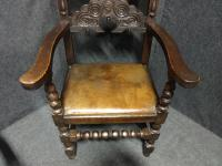 Pair of Oak Carver Hall Chairs c.1900 (5 of 6)