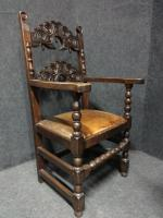 Pair of Oak Carver Hall Chairs c.1900 (2 of 6)