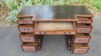 Antique Mahogany Pedestal Writing Desk by Gillows (7 of 13)